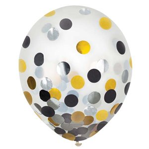 LATEX BALLOONS WITH CONFETTI - BLACK, SILVER & GOLD 12''