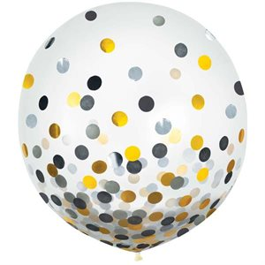 LATEX BALLOONS WITH CONFETTI - BLACK & SILVER & GOLD 24''