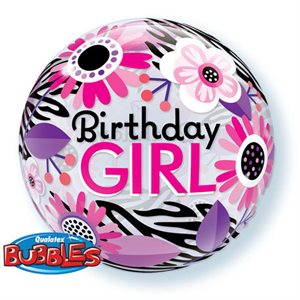 BDAY GIRL FLORAL ZEBRA 22'' BUBBLE