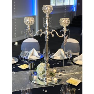 CRYSTAL CANDLE HOLDER 3-ARM - RENTAL