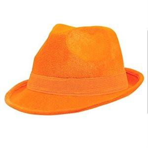 CHAPEAU GANGSTER VELOUR - ORANGE