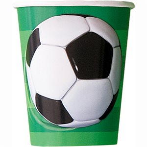 3D SOCCER 9OZ PAPER CUPS 8CT