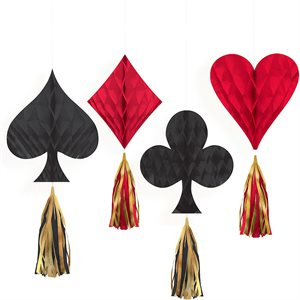 CASINO MINI HONEYCOMBS W/ TASSELS 4/PKG