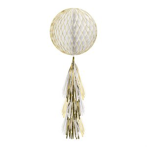 GLITTER HONEYCOMB BALL WITH TAIL - GOLD