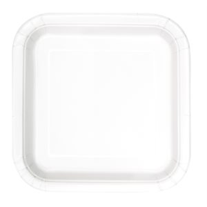 WHITE SOLID SQUARE 9'' DINNER PLATES 14CT
