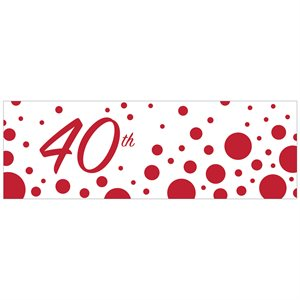 GIANT PARTY BANNER 40TH ANNIVERSARY - SPARKLE AND SHINE RUB