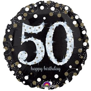 MYLAR 50 HAPPY BIRTHDAY ÉTINCELANT 28 PO.