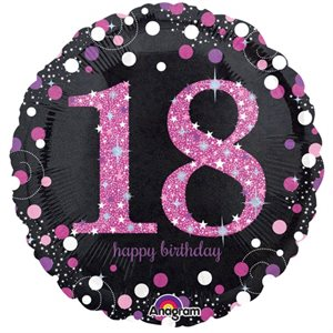 MYLAR 18 HAPPY BIRTHDAY ROSE ÉTINCELANT 18 PO.