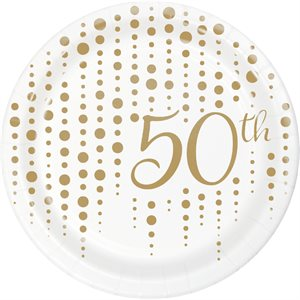 LUNCHEON PLATE FOIL 50TH ANNIV - SPARKLE AND SHINE GOLD