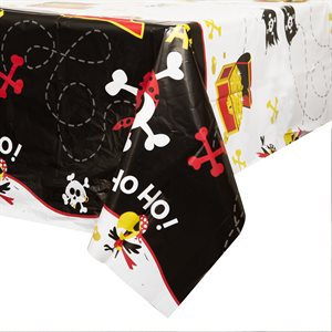 PIRATE FUN RECTANGULAR PLASTIC TABLE COVER 54''X84''