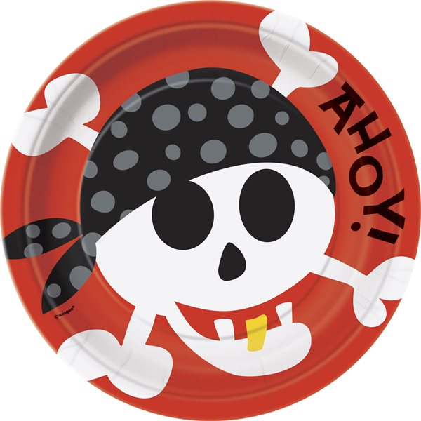 PIRATE FUN ROUND 9'' DINNER PLATES 8CT