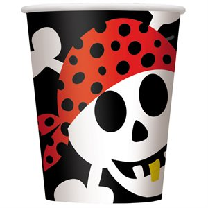 PIRATE FUN 9OZ PAPER CUPS 8CT