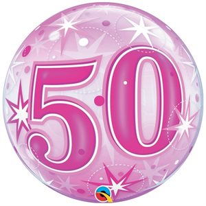 50 PINK STARBURST 22'' BUBBLE
