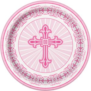 PINK RADIANT CROSS ROUND 9'' DINNER PLATES 8CT