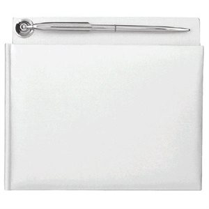 GUEST BOOK PEARLIZED WHITE WITH PEN