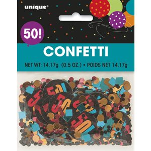 BIRTHDAY CHEER FOIL & PRINTED CONFETTI ''50'' .5 OZ.