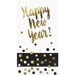 SERVIETTES D'INVITÉ 16/PQT - HAPPY NEW YEAR