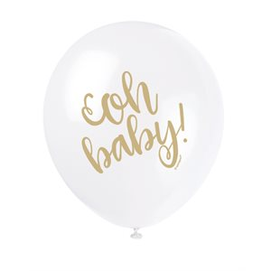 BALLONS LATEX 12 PO. 8/PQT - OH BABY OR