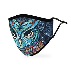 MASQUE LAVABLE 100% COTON ADULTE - HIBOU