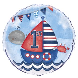 LITTLE SAILOR NAUTICAL FIRST BIRTHDAY ROUND FOIL BALLOON 18'