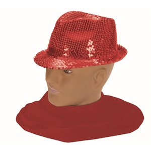 SEQUIN FEDORA-RED