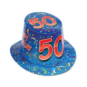 CHAPEAU 50 HAPPY BIRTHDAY BLEU