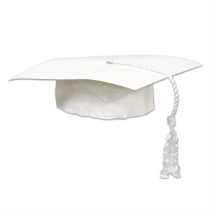 "9"" GRADUATION CAP WHITE BULK"