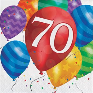 LUNCHEON NAPKIN 70TH BDAY - BALLOON BLAST