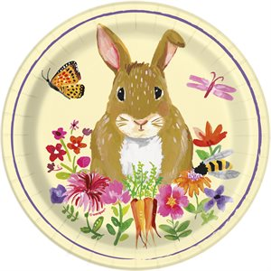 FLORAL EASTER BUNNY ROUND 7'' DESSERT PLATES 8CT
