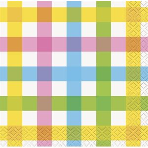 COLORFUL PLAID EASTER BEVERAGE NAPKINS 24CT