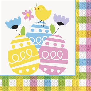 COLORFUL PLAID EASTER LUNCHEON NAPKINS 20CT