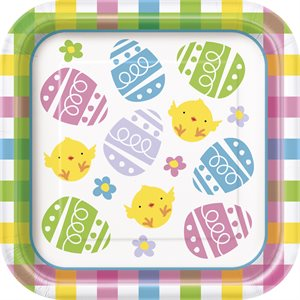 COLORFUL PLAID EASTER SQUARE 7'' DESSERT PLATES 10CT