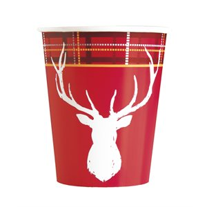PLAID DEER CHRISTMAS 9OZ PAPER CUPS 8CT