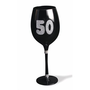 BLACK WINE GLASS - ''50''