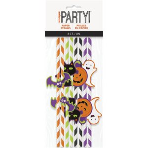 HALLOWEEN DECAL STRIPED PAPER STRAWS 8CT