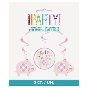 PINK FLORAL ELEPHANT HANGING SWIRL DECORATIONS 26