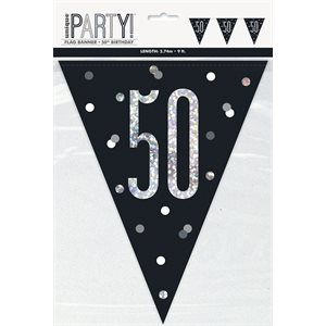 9FT BLACK & SILVER PRISMATIC PLASTIC FLAG BANNER 50