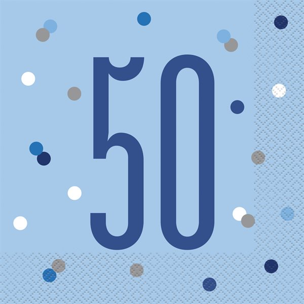 16 X BLUE & SILVER LUNCHEON NAPKINS 50