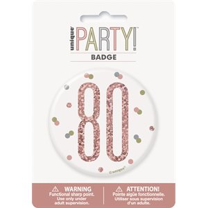 GLITZ ROSE GOLD BIRTHDAY BADGE 80