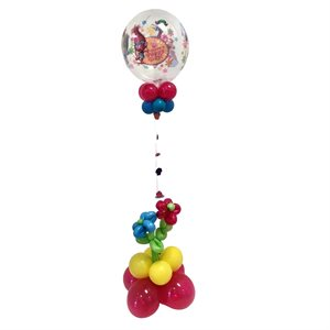 BALLOONS ARRANGEMENT - THEMED BUBBLE ON FLOWERS BASE