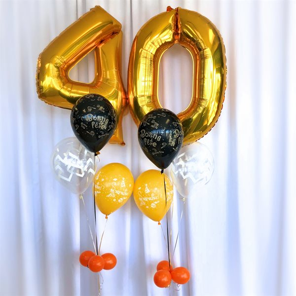 BALLOONS ARRANGEMENT - AGE 40 WITH 2 BUNCHES