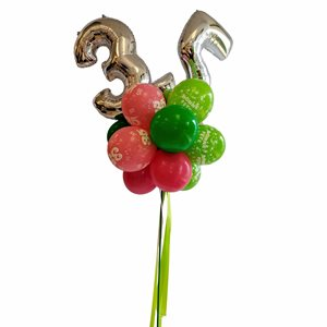YARD BALLOONS ARRANGEMENT - AGE 35 SILVER 26 IN.