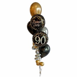 BALLOONS ARRANGEMENT - TRICOLOR CHIC WITH AGE 90