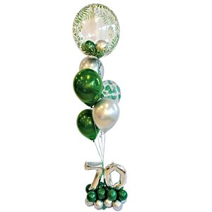 BALLOONS ARRANGEMENT - GREENERY BUBBLE WITH BALLOONS & 70TH
