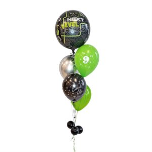 BALLOONS ARRANGEMENT - ORBZ VIDEO GAME BLACK & GREEN