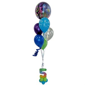 BALLOONS ARRANGEMENT - ORBZ TROLLS ON BASE AGE 5