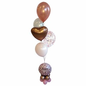 BALLOONS ARRANGEMENT - ROSEGOLD BDAY ON HB BLUSH BASE