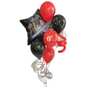 BALLOONS ARRANGEMENT - STAR WARS RED, BLACK WITH CONFETTIS