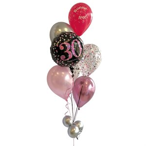 BALLOONS ARRANGEMENT - PINK, GRAY & BLACK 30 YRS OLD