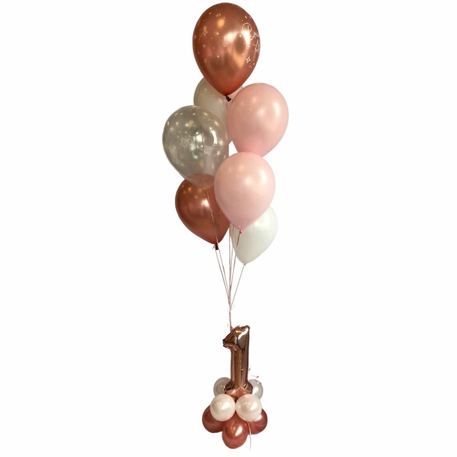 BALLOONS ARRANGEMENT - ROSEGOLD & WHITE WITH AGE 1 BASE